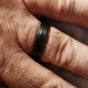 Tungsten Men's black wedding band sz 13 - 6mm